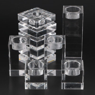 Williams Sonoma Home Crystal Block Votive Holders and Candlestick