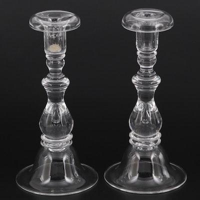 """Steuben Art Glass """"Teardrop"""" Single Light Baluster Candlesticks"""