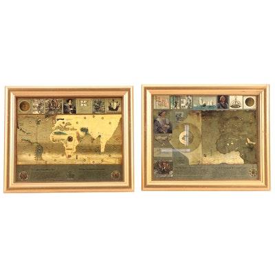 500 Year Anniversary Christopher Columbus Framed Transatlantic Maps, 1992