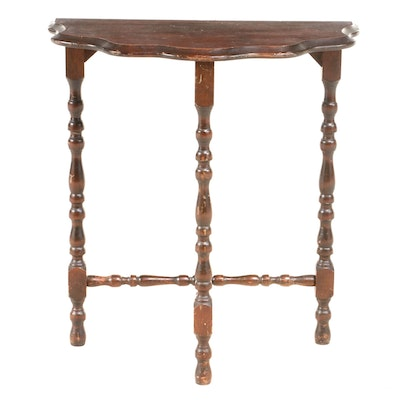 Colonial Revival Pine Scalloped-Edge Demilune Side Table