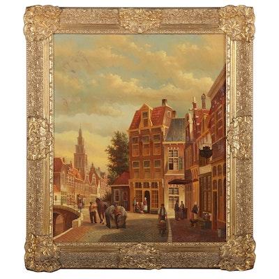 Ronald Meilof Oil Painting of European Street Scene, Late 20th Century