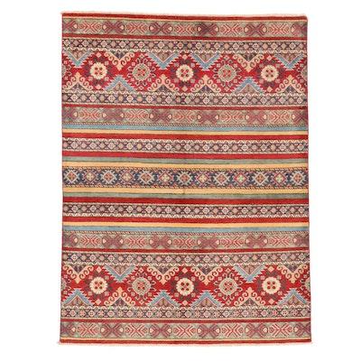 5'1 x 6'9 Hand-Knotted Afghan Kazak Area Rug