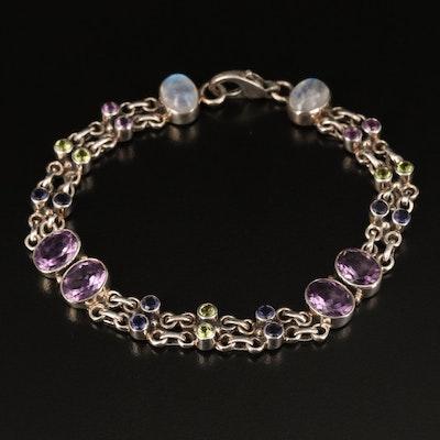 Sterling Rainbow Moonstone, Peridot, Amethyst and Gemstone Bracelet