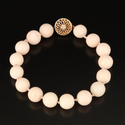 Coral Beaded Bracelet with Sterling Silver Clasp