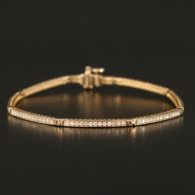 Sterling 0.52 CTW Diamond Bar Bracelet