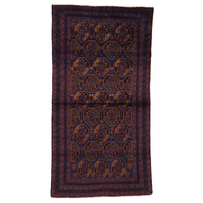 3'7 x 6'11 Hand-Knotted Afghan Bokhara Area Rug