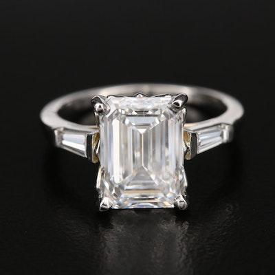 Platinum 4.52 CTW Diamond Ring with IGI Report