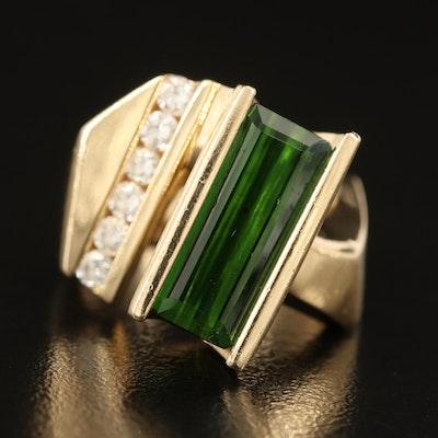 Contemporary 14K Tourmaline and Diamond Ring