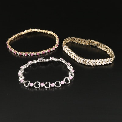 Sterling Silver Bracelets Including Ruby and Cubic Zirconia