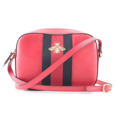 Gucci Bee Web Camera Bag in Red Leather