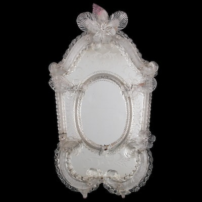 Venetian Glass Etched Table Top Mirror