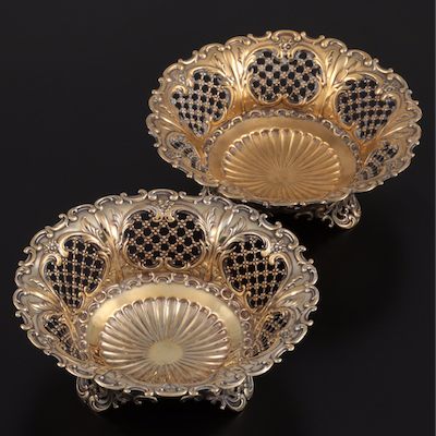 Whiting Mfg. Co. Gold Washed Sterling Silver Pierced Serving Bowls, Late 19th C.
