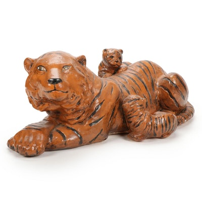 Hand-Painted Chalkware Tiger with Cubs Figurine
