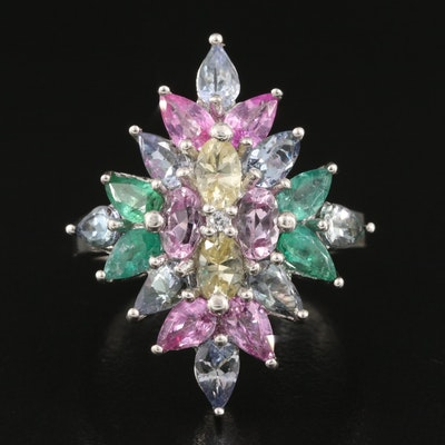Sterling Silver Emerald, Tanzanite and Danburite Navette Cluster Ring