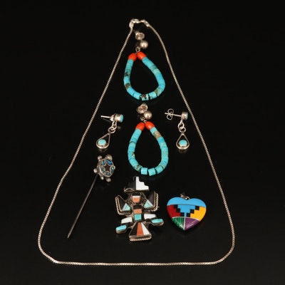 Sterling Gemstone Knifewing Pin, Earrings, Turtle Pin, and Inlay Heart Necklace