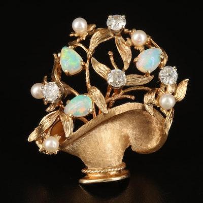 14K Opal, Pearl and 1.40 CTW Diamond Giardinetti Brooch