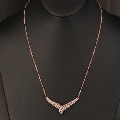 10K Rose Gold 1.00 CTW Diamond Chevron Necklace