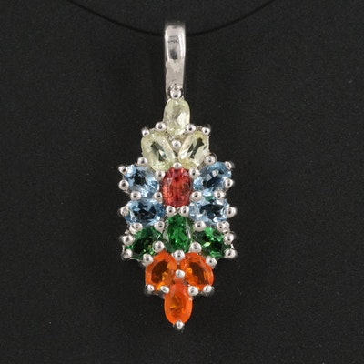 Sterling Silver Amblygonite, Fire Opal and Diopside Pendant