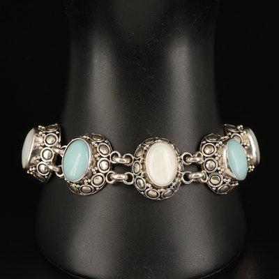 Sterling Mother of Pearl and Aquamarine Oval Link Bracelet