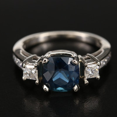 14K 4.03 CT Sapphire and Diamond Ring with AGL Report