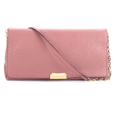 Burberry Mindenhall Shoulder Bag in Pink Pebble Grain Leather