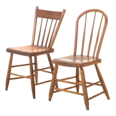 Two American Primitive Spindle-Back Side Chairs, 19th Century