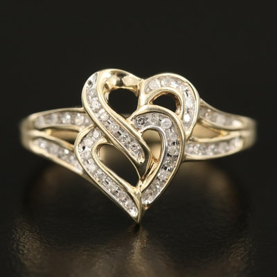 10K 0.12 CTW Diamond Double Hearts Ring