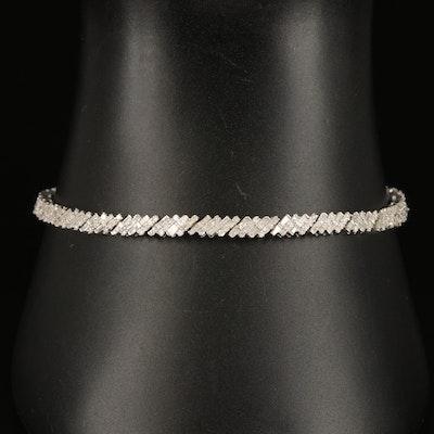Sterling 2.00 CTW Diamond Cluster Link Bracelet