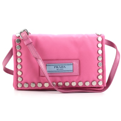 Prada Etiquette Front Flap Crossbody in Studded Pink Tessuto Nylon