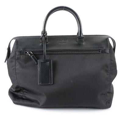 Prada Black Tessuto Nylon and Leather Weekender Zip Bag