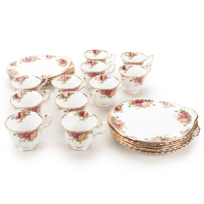 """Royal Albert """"Old Country Roses"""" Bone China Teacups and Snack Plates"""