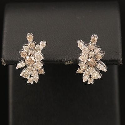 14K 1.25 CTW Diamond Cluster Earrings