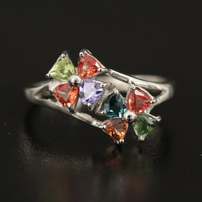 Sapphire, Tourmaline and Tanzanite Sterling Silver Ring