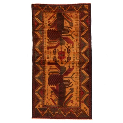 3'7 x 7 Hand-Knotted Afghan Baluch Area Rug