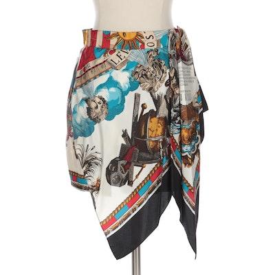 Gianfranco Ferre Twill Scarf Print Asymmetric Skirt