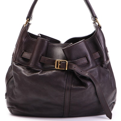 Burberry Large Belted Hobo Shoulder Bag in Dark Brown Lambskin Leather