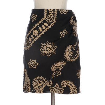 Moschino Jeans Black Paisley Patterned Wrap Skirt