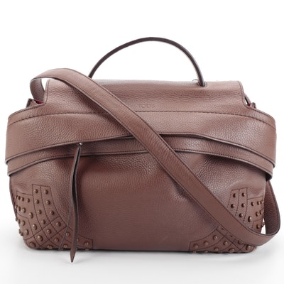 Tod's Wave Gommini Studded Brown Grained Leather Convertible Bag