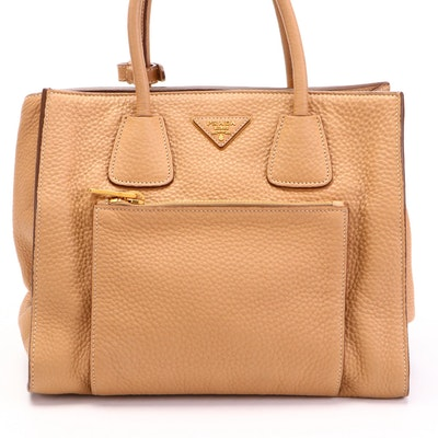 Prada Wing Convertible Tote Bag with Front Pocket in Tan Vitello Daino Leather