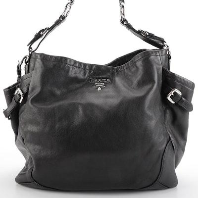 Prada Black Leather Side Pocket Hobo Bag