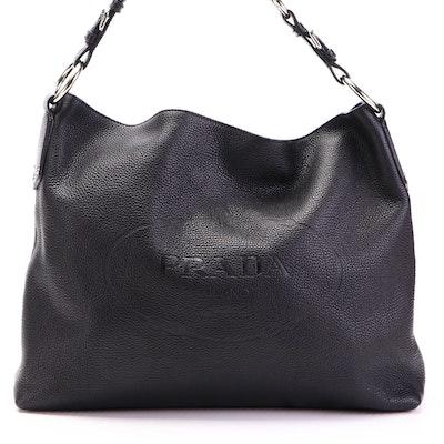 Prada Hobo Bag in Black Vitello Daino Leather