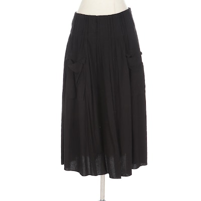 Prada Pintuck and Pleated A-Line Skirt in Black