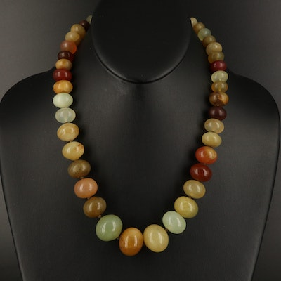 Graduated Agate Beaded Necklace with Sterling Clasp