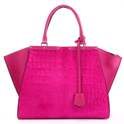 Fendi 3Jours Tote Bag in Fuchsia Pink Leather and Croc-Embossed Dyed Calf Hair