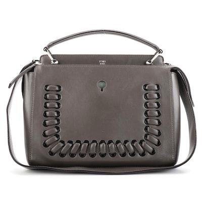 Fendi Dotcom Gray Leather Whipstitch Trim Convertible Handbag