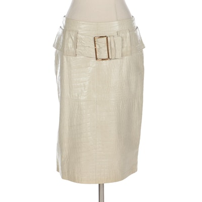 Alligator Embossed Off-White Faux Leather Skirt with Oversized Belt