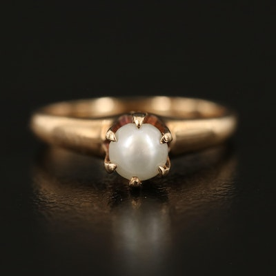 Vintage 14K Pearl Solitaire Ring