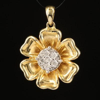 14K 0.11 CTW Diamond Electroform Flower Pendant