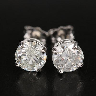Platinum 2.04 CTW Diamond Stud Earrings