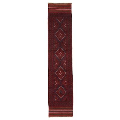 1'11 x 9'1 Handwoven Afghan Turkmen Mixed Technique Carpet Runner